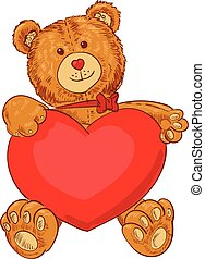 Teddy bear - Toy teddy bear holding a heart Funny cartoon...