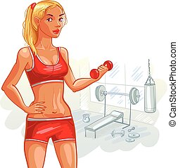 Girl in gym - Portrait of smiling sporty girl in gym Funny...