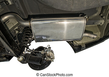 New Car Muffler - The lower part of the new car on a white...