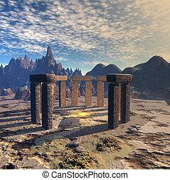 Stonehenge - futuristic landscape with Stonehenge