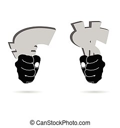 euro and dollar vector in hand illustraton