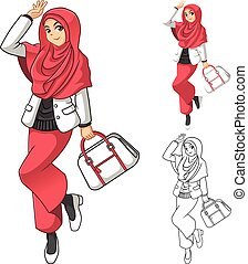 Muslim Woman Fashion 3 - Muslim Woman Fashion Wearing Pink...
