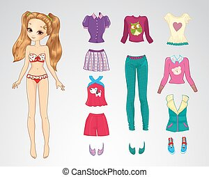 Paper Brown Hair Casual Doll - Vector illustration of paper...