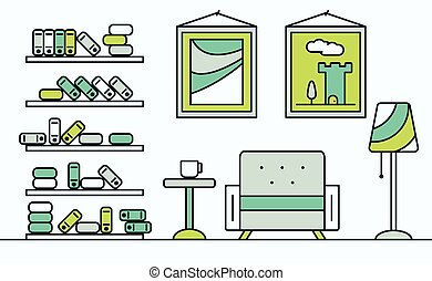 Home interior design.vector illustration.