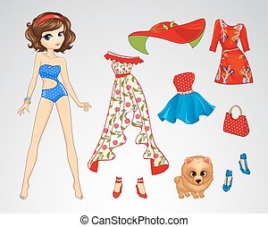 Paper Brunette Retro Doll - Vector illustration of paper...