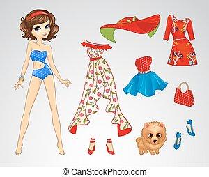 Paper Brunette Retro Doll - Vector illustration of paper...
