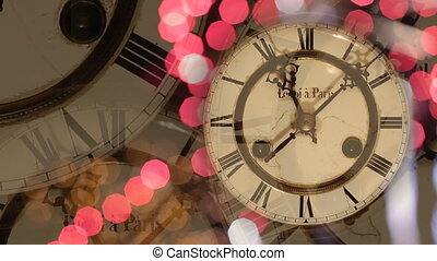 New Year's clock background - Vintage clock and fireworks,...