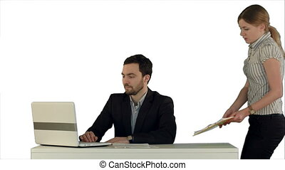 Business people Having Meeting Around Table with laptop on laptop on white background isolated