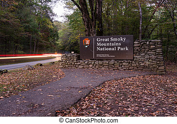 Great Smoky Mountains Entry Sign with Car Lights -...