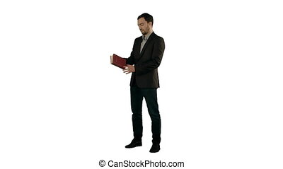 Young student reading a law book  on white background isolated