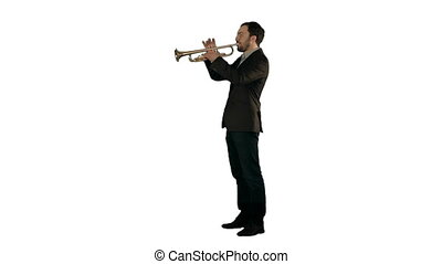 Man standing and trumpet melody on white background isolated...
