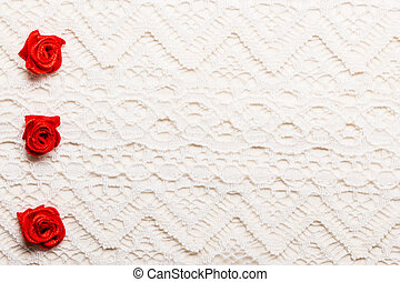 Frame of red silk roses on lace - Valentines day wedding,...