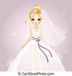Girl In Princess Wedding Dress - Vector illustration of...
