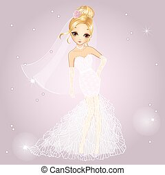 Blonde Girl In Wedding Dress - Vector illustration of...