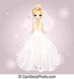 Bride Blonde Girl In Diadem - Vector illustration of...