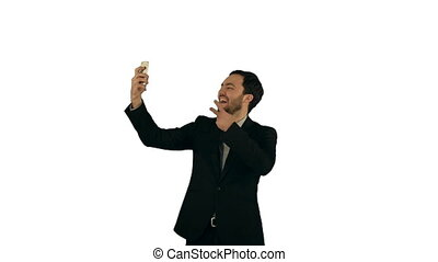 Businessman taking a selfie on white background isolated...