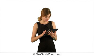 Portrait of a professional business woman with tablet on white background isolated