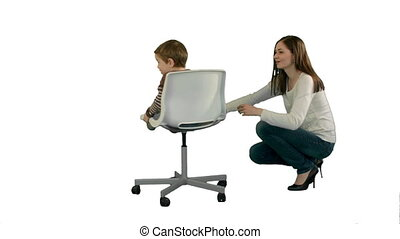 Mother and boy play game on white background isolated....
