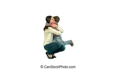 Lovely portrait of a mother and son on white background isolated