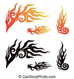 Fire and flame graphic elements