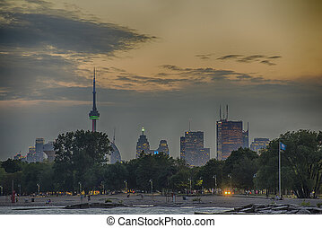 Toronto skyline from Woodbine beach - A view of Toronto...