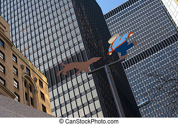 Toronto financial district buildings - Close up detail of...