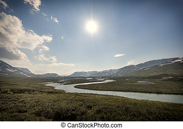 Landscape in Lapland, Sweden - Tundra landscape in northern...