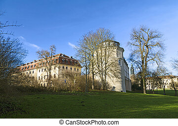 view from the Ilm park in weimar to green castle and Anna...