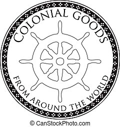 Colonial goods from all over the world - Stamp print,...