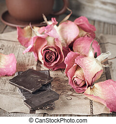 Dried roses and chocolate