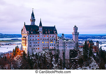 Neuschwanstein castle in Bavaria, Germany at winter time