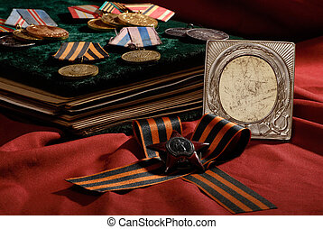 retro photo frame with war insignia