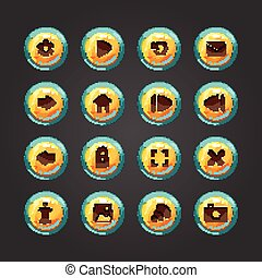 vetorial,  desig, botão, jogo, Jogo