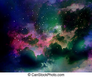 Nebula, colorful abstract gas and fog