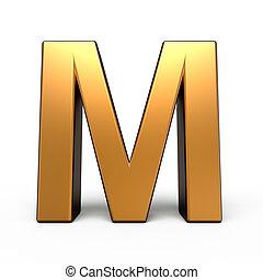 3d matte gold letter M