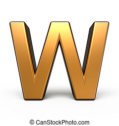 3d matte gold letter W