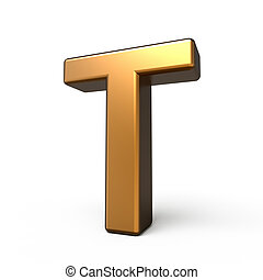 3d matte gold letter T