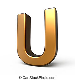 3d matte gold letter U