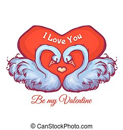 Vector illustration with heart and two swans. Happy valentine day