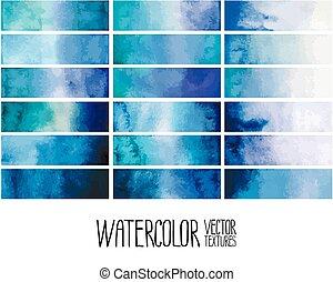 Blue watercolor gradient rectangles. Design elements...