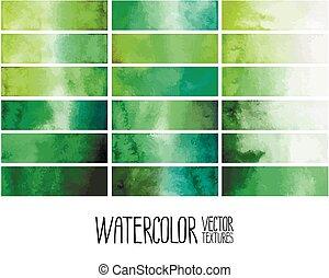 Green watercolor gradient rectangles. Design elements...