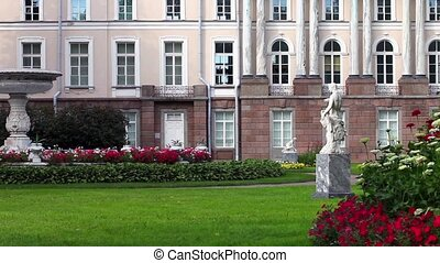 Royal Park with marble sculptures - St. Petersburg Russia...