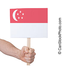 Hand holding small card - Flag of Singapore - Hand holding...