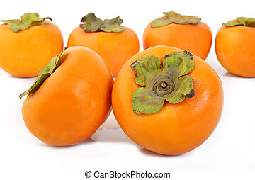 persimmon - ripe persimmon fruit isolated on white...