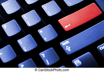 PC keyboard with blank enter key isolated on red