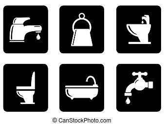 set of plumbing icons - set of six black icons with white...