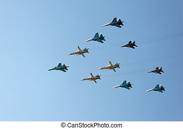 Ten russian military aircrafts (MIG and SU fighters)