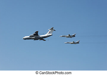 Two russian military aircrafts (MIG fighters)