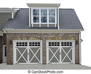 Double Door Garage on Modern House - Double door garage at...