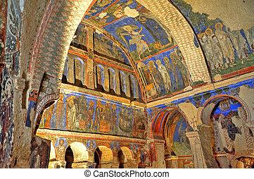Fresco in ancient caves in Cappadocia